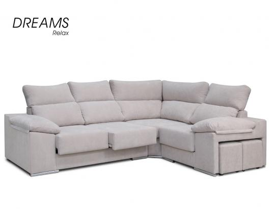 Sofa rinconera lowin blanco puff